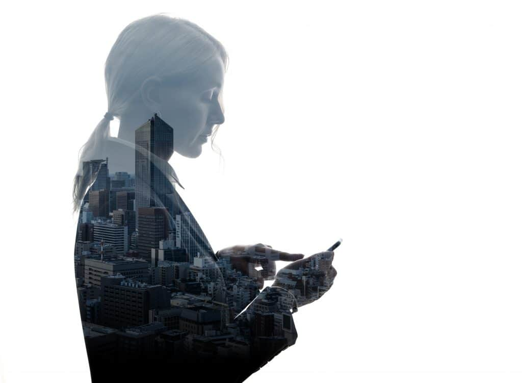 lady superimposed over a city background