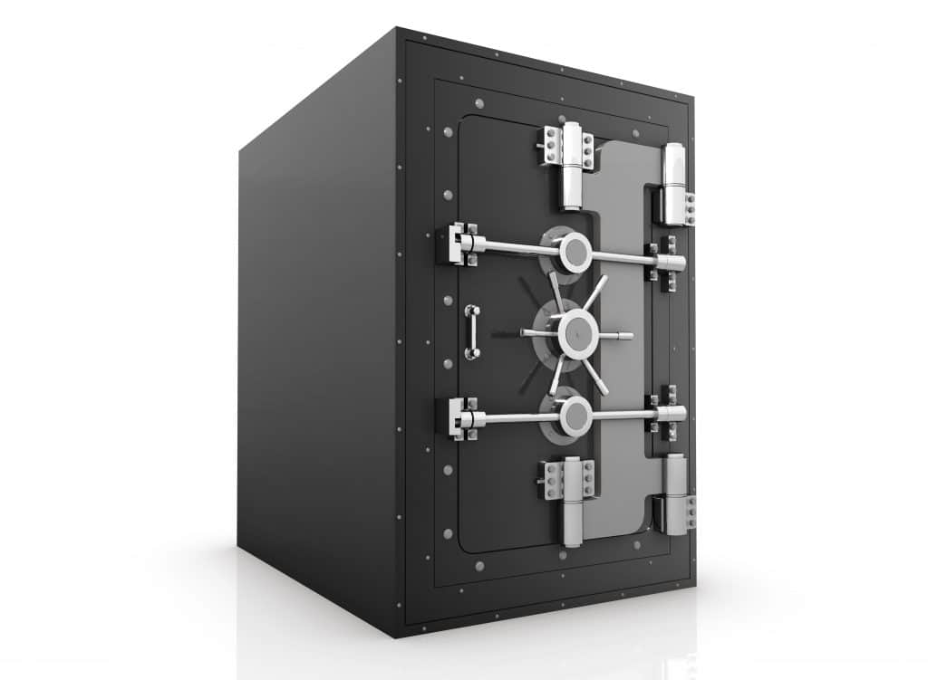 large box safe locked, with door closed. secure documents online