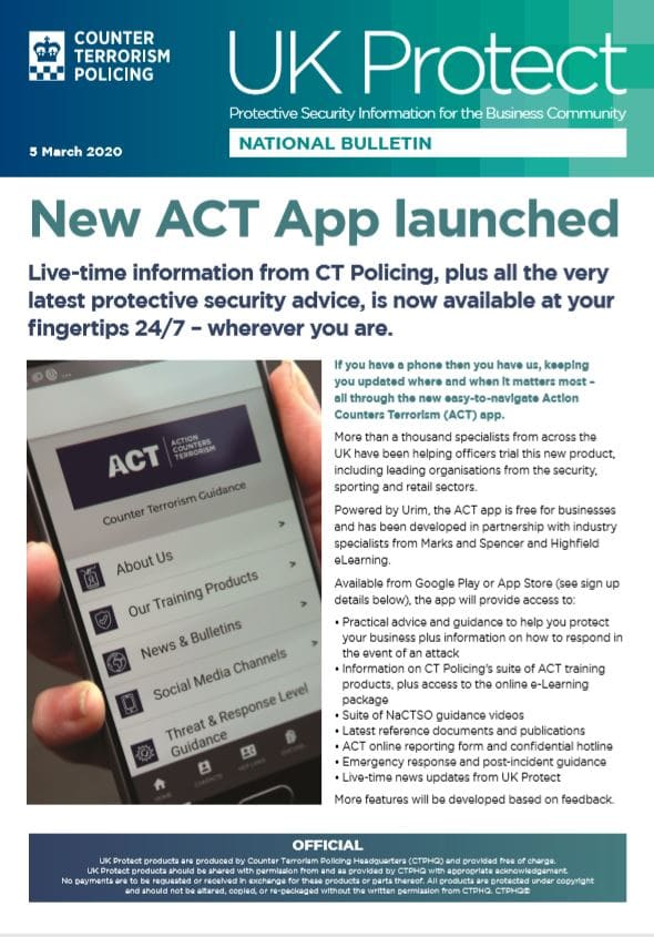 New ACT App launch bulletin